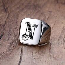 Anillo Vnox Retro con iniciales Signet para hombre, 18mm, sello grueso, banda masculina, letras de acero inoxidable, joyería personalizada, regalo para él
