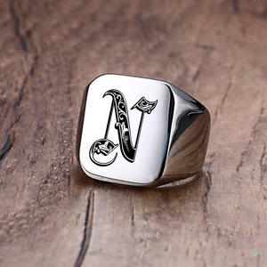Vnox Retro Initials Signet Ring for Men 18mm Bulky Heavy Stamp Male Band Stainless Steel Letters Custom Jewelry Gift for Him(China)