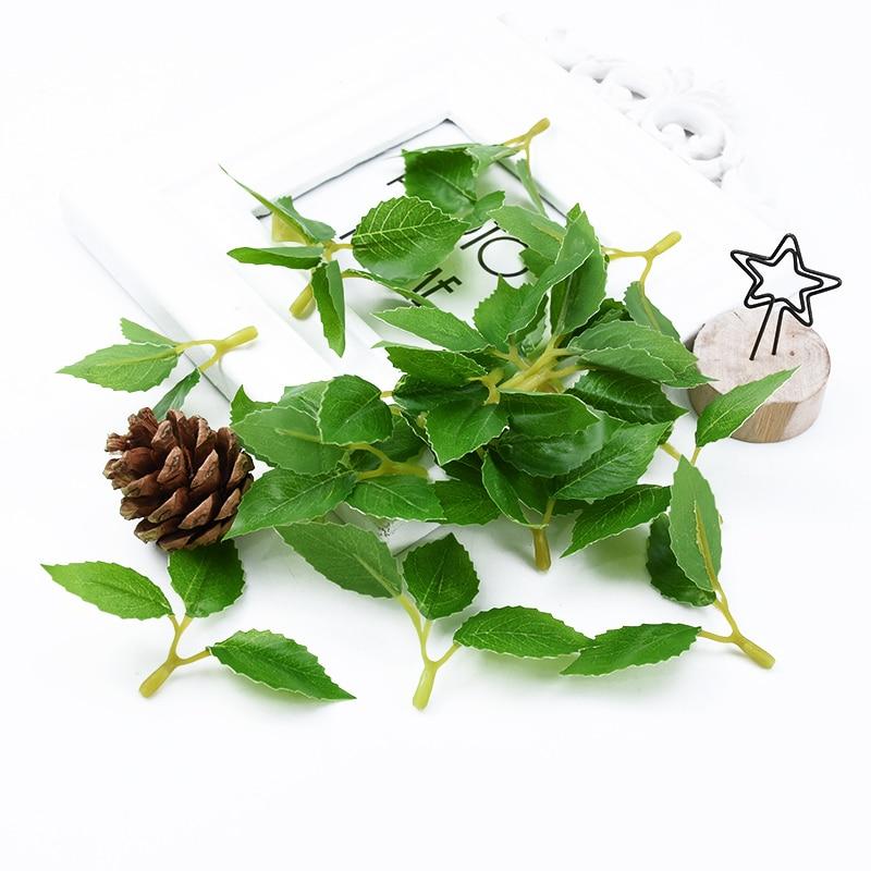 20/50pcs Artificial Plants Wedding Decorative Flowers Wreaths Christmas Decorations For Home Eucalyptus Leaves Silk Rose Leaf