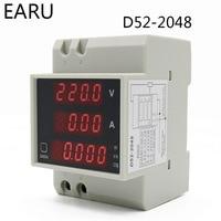Digital Energy Meter Din Rail LED Active Power Factor Multi Functional Power Meter Voltmeter Ammeter Voltage Ampere Tester DIY|Energy Meters| |  -