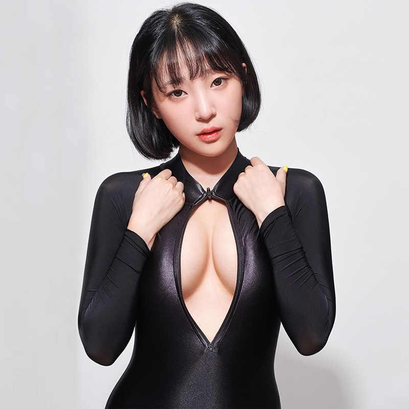 Sexy manches longues Sukumizu justaucorps noir mat body haute coupe une pièce maillots de bain femmes maillots de bain japonais maillots de bain