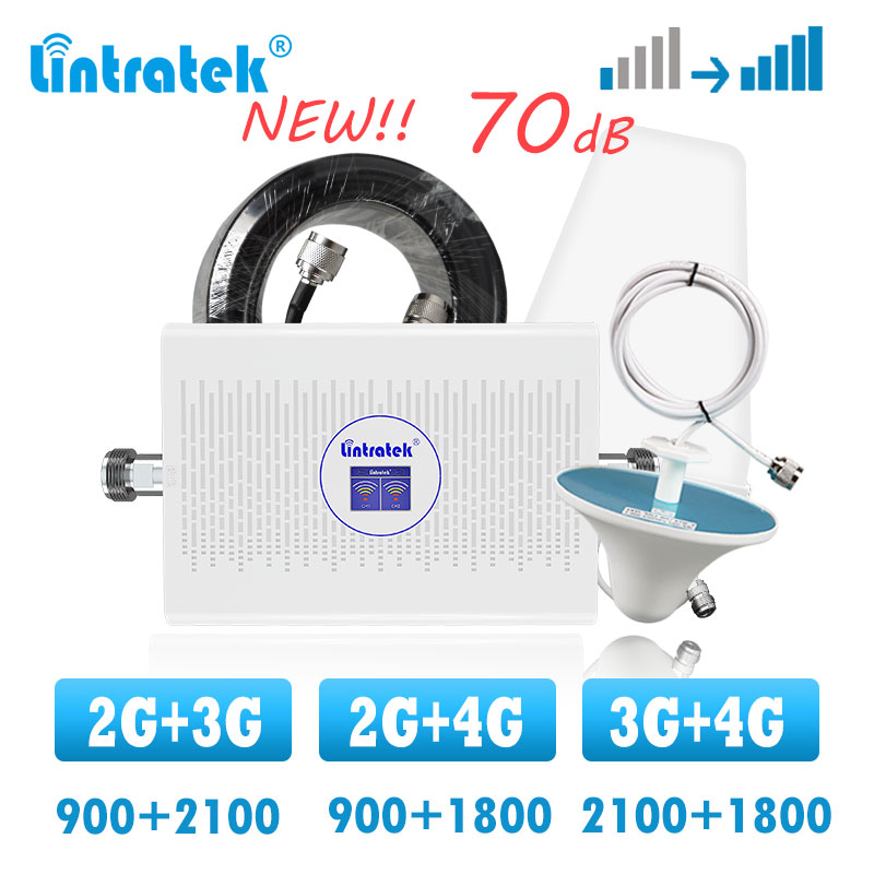 Lintratek Dual Band 3G 4G Cellular Signal Booster Gsm 900 1800 Lte Repeater 2100  Cellphone Internet Voice Call Signal Amplifier