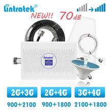 Lintratek banda dupla 3g 4g celular impulsionador de sinal gsm 900 1800 lte repetidor 2100 celular internet voz chamada amplificador de sinal