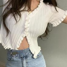 Summer knit sweater female Women Ruffle Trim Crop Knit Cardigan with Short Sleeve Deep V Neck Crop casual jumper pull femme contrast ruffle neck and bell cuff jumper