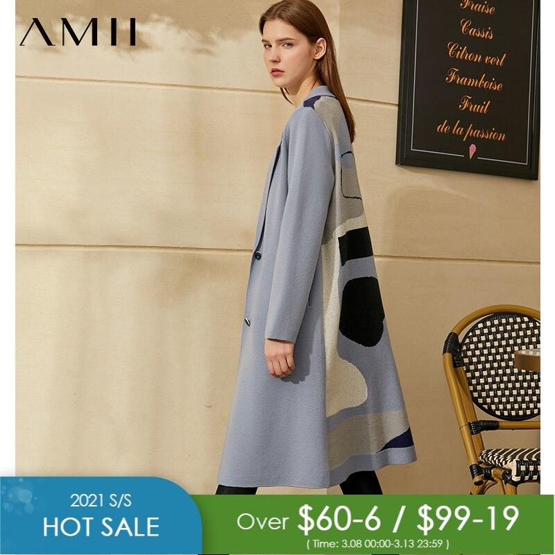 Amiiミニマリズム秋冬気質カーディガン女性のファッションラペル緩いシングルブレスト女性のジャケット12040513|カーディガン|   -
