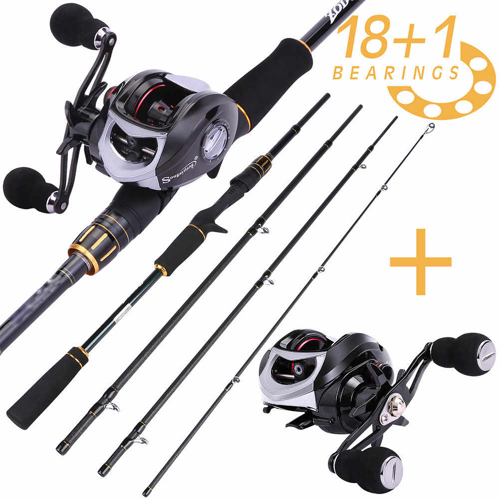 Sougayilang 2.12m Lure Rod and Baitcasting Reel Carbon Fiber Spinning Pole Casting Fishing Reel Wheels Sets Fishing Tackle