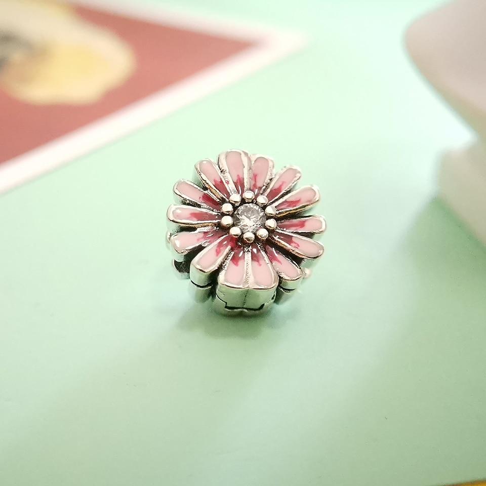 925 Sterling Charms Enamel  Pink Daisy Original Reflection Fit Original Pandora Bracelet DIY Jewelry Gift