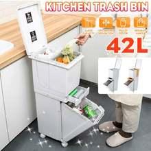 Poubelle de cuisine à 2 couches 42L, corbeille humide et sèche, seau de stockage, pour le recyclage des déchets