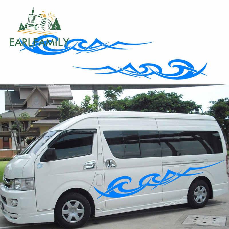 EARLFAMILY 200cm x 30cm 2x Waves Stripe Car Stickers Caravan Motorhome  Camper Van Vinyl Graphics RV Decals Car Wrap