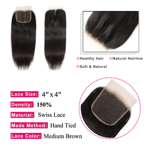 Image 3 - Brazilian Straight Lace Closure Free Part 150% Density Julia Lace Closure Pre Plucked If Middle/Three Part Closure Contact US