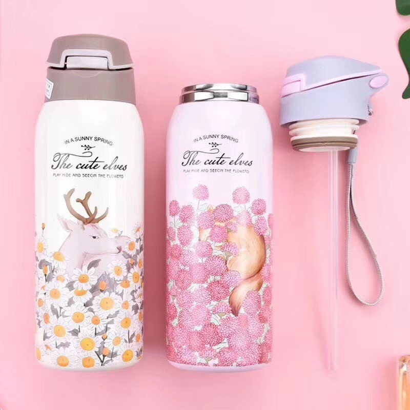 Double Wall Thermos Water Bottle with Straw 304 Stainless Steel Vacuum Flask mug Outdoor Bottle Sport insulated cup 350/450ML
