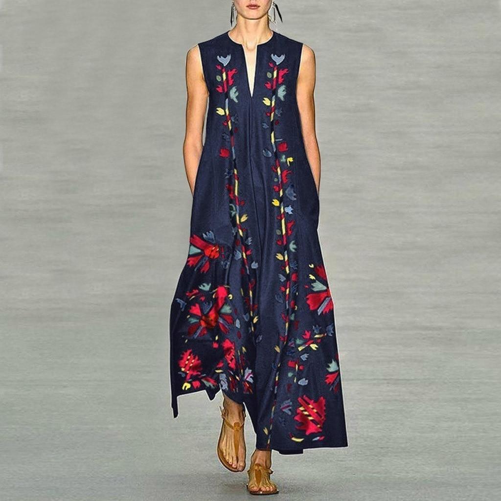 vestido de mulher Women Plus Size Vintage Daily Casual Sleeveless Printed Floral V Neck Maxi Dress
