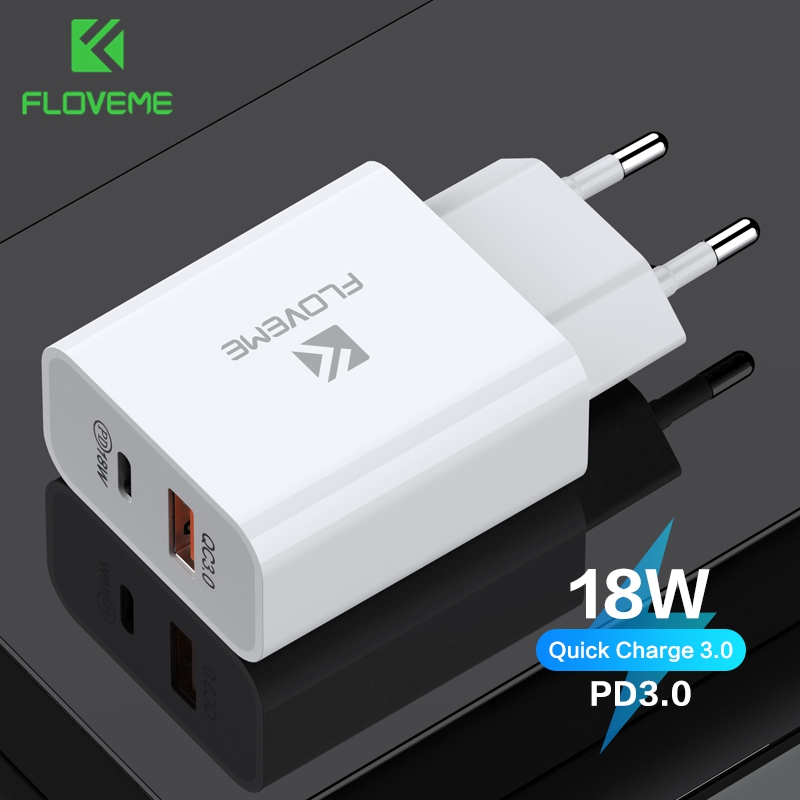 FLOVEME PD Charger 18W Dual USB Quick Charge 3.0 Charger For iPhone Samsung Xiaomi QC 3.0 Cargador Mobile Phone Charger Adapte
