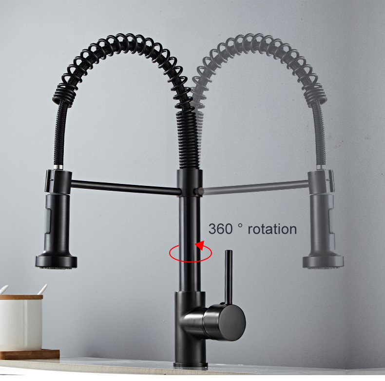 Hd262dbcd6c4545d999ec0457fa70d7438 Deck Mounted Flexible Kitchen Faucets Pull Out Mixer Tap Black Hot Cold Kitchen Faucet Spring Style with Spray Mixers Taps E9009
