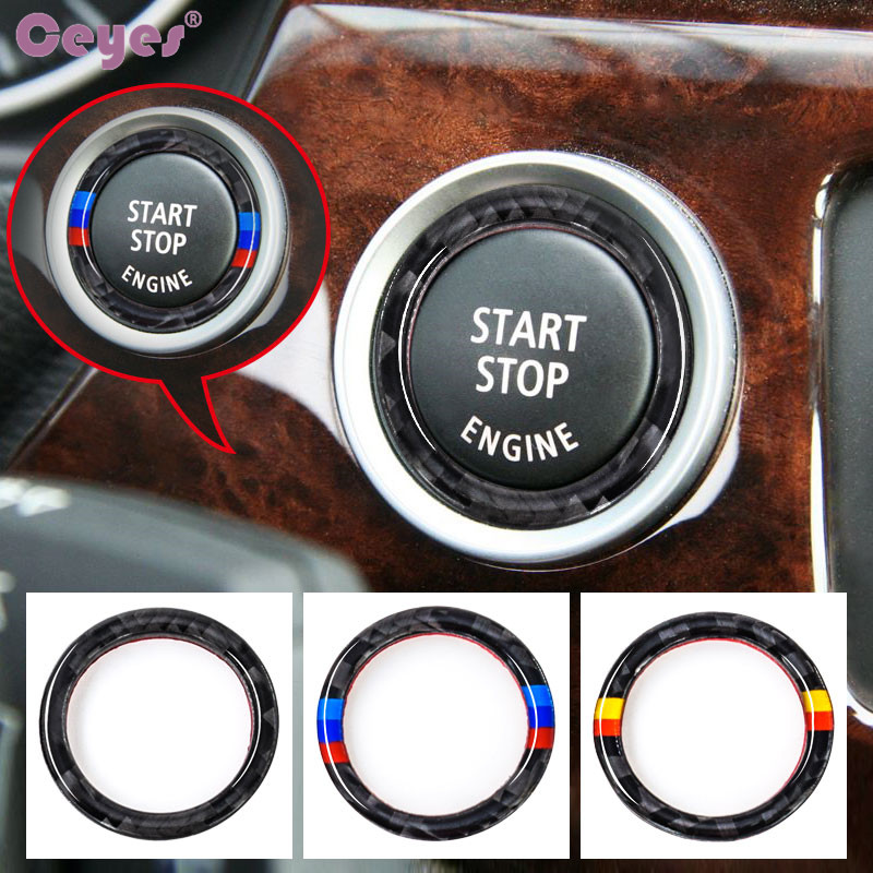 Ceyes For BMW E90 E92 E93 For M 3 Series German Flag Auto Engine Start Stop Circle Ring Covers Stickers Car Styling Accessories