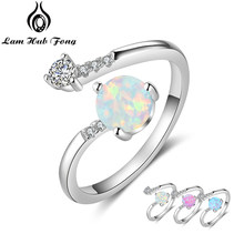 925 Sterling Silver Created Round Blue Opal Rings for Women Cubic Zirconia Adjustable Wrap Ring Wedding Jewelry (Lam Hub Fong)(China)