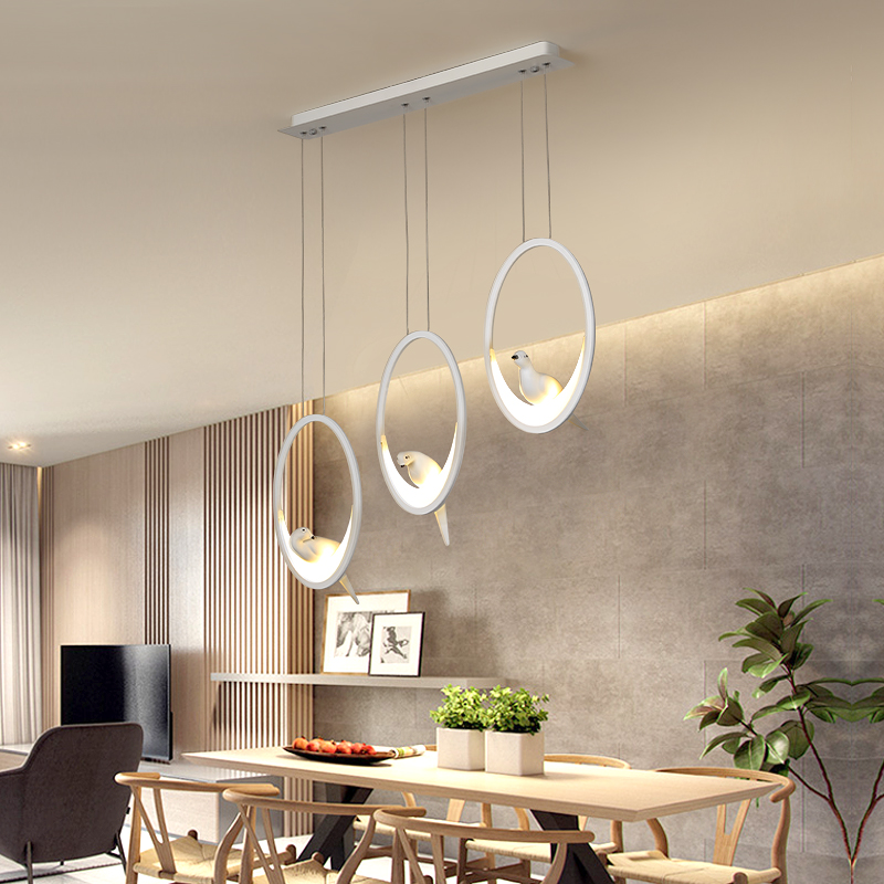 Modern Led Hanging Pendant Lights For Dining Room Kitchen Room Bar Shop White/black Color Pendant Lamp Fixtures With Bird