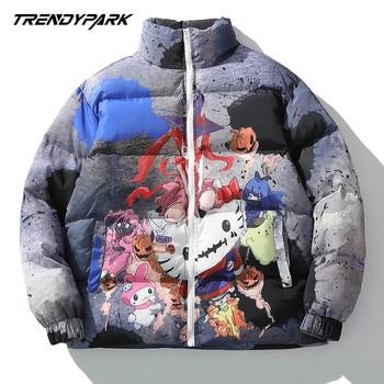 Lindsey Seader Hip Hop Jacket Parka Colorful Cartoon Kitty Streetwear Men Windbreaker Harajuku Winter Coat Warm Outwear - discount item  40% OFF Parkas