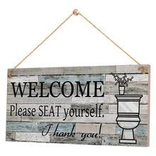 Signo de decoración de pared para baño, placa de madera colgante, signo de bienvenida, por favor, asiento, arte rústico para niños invitados