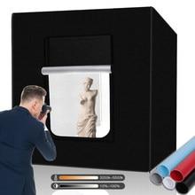 Travor 80cm estúdio foto caixa de luz profissional portátil softbox bi cor led lightbox com 5 cores fundo