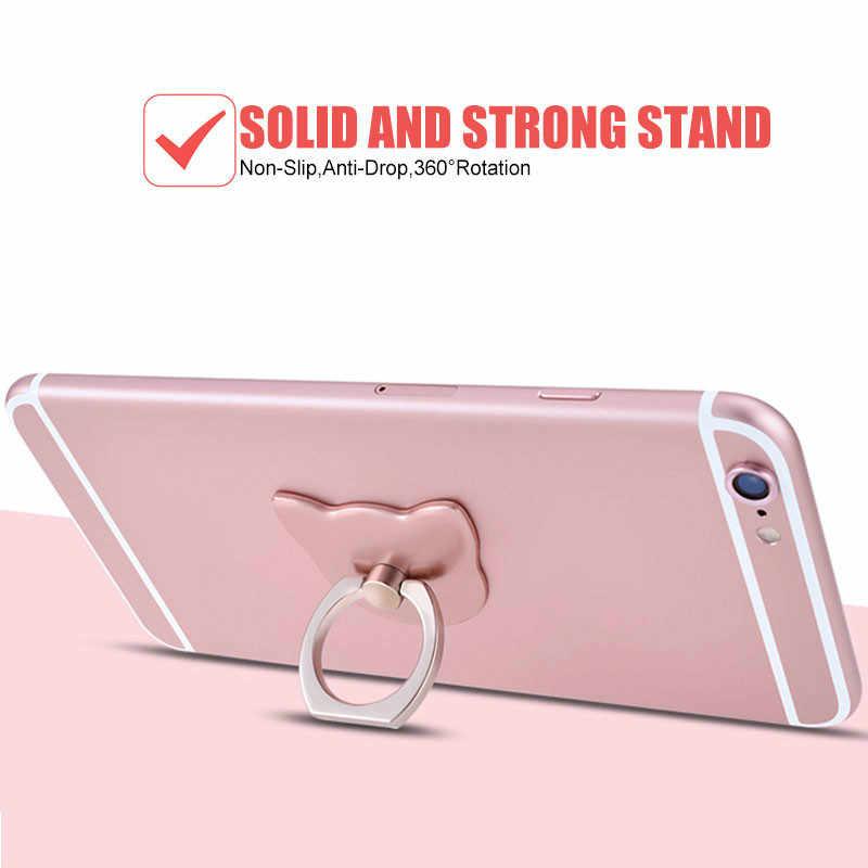 חדש עיצוב מתכת אצבע טבעת טלפון נייד מקרה Coque מחזיק חמוד Cartoon חתול תמיכה עבור IPhone 11 פרו מקסימום 8 בתוספת Samsung Galaxy