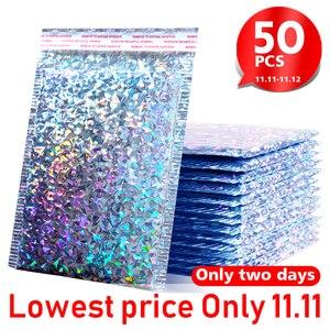 Image 2 - 50 stks/pak Laser Zilveren Verpakking Verzending Bubble Mailer Goudfolie Plastic Gewatteerde Envelop Gift Bag Mailing Envelop Tas