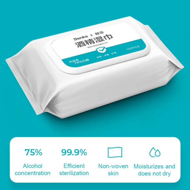 120 Pcs/Bag Alcohol Wipes 75 Degree Sterilization Portable Wipes Antibacterial Cleaning Home, Office, Travel Essential