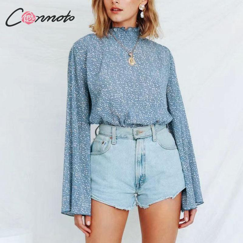 Conmoto Women Casual Floral Print Chiffon Tops and   Blouse   Female 2019 Autumn Winter Chic Turtleneck Flare Sleeve Plead   Shirt