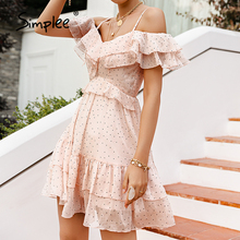 Female Dress Simplee A-Line Holiday-Style Polka-Dot Ruffle Fashion Summer Sexy v-Neck
