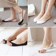 цена на Women Open Toe Boat Socks Invisible Non-Slip Cotton Low Cut Socks Lady Summer Thin Breathable High Heels Socks Slippers Sokken