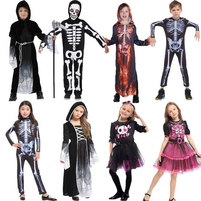 Umorden Costumes avec crâne pour fête dhalloween, Costume avec squelette pour enfants, monstre effrayant, démon effrayant, diable et fantôme grimm, pour garçons et filles