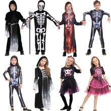 Umorden cadılar bayramı partisi kafatası iskelet kostümleri çocuklar çocuk korkunç canavar şeytan şeytan hayalet Grim Reaper kostüm erkek kız için