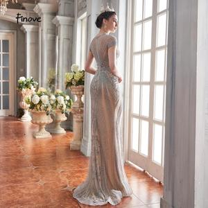 Image 5 - Finove 2020 New Evening Dresses Long Short Sleeves With Luxury Beaded Floor Length Sexy Mermaid Dress Party Gowns For Woman