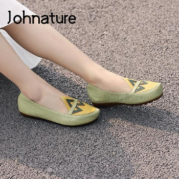 Johnature Genuine Leather Mixed Colors Flats Women Shoes Pointed Toe Spring 2020 New Casual Shallow Handmade Soft Ladies Shoes