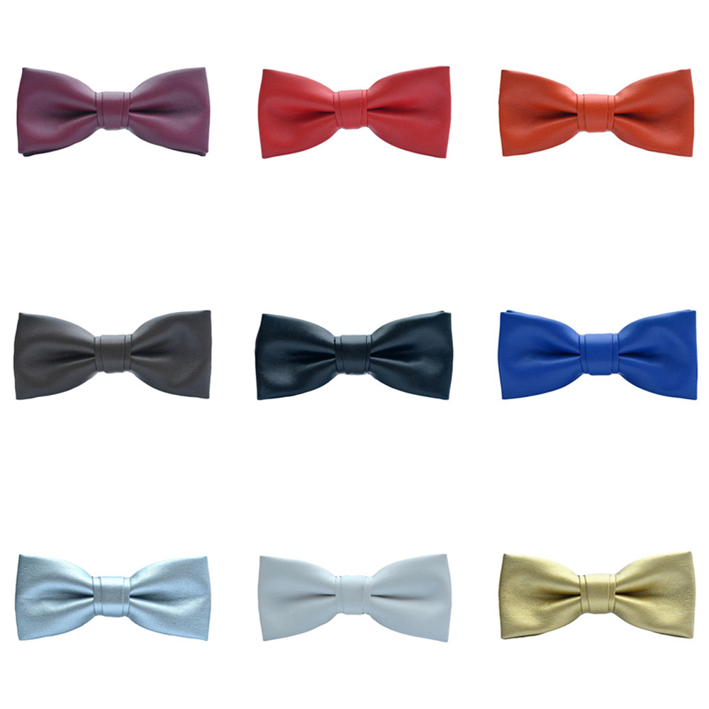 Mens Noble Plain Pre-tied Bow Tie Wedding Prom PU Leather Tuxedo Business Bowtie