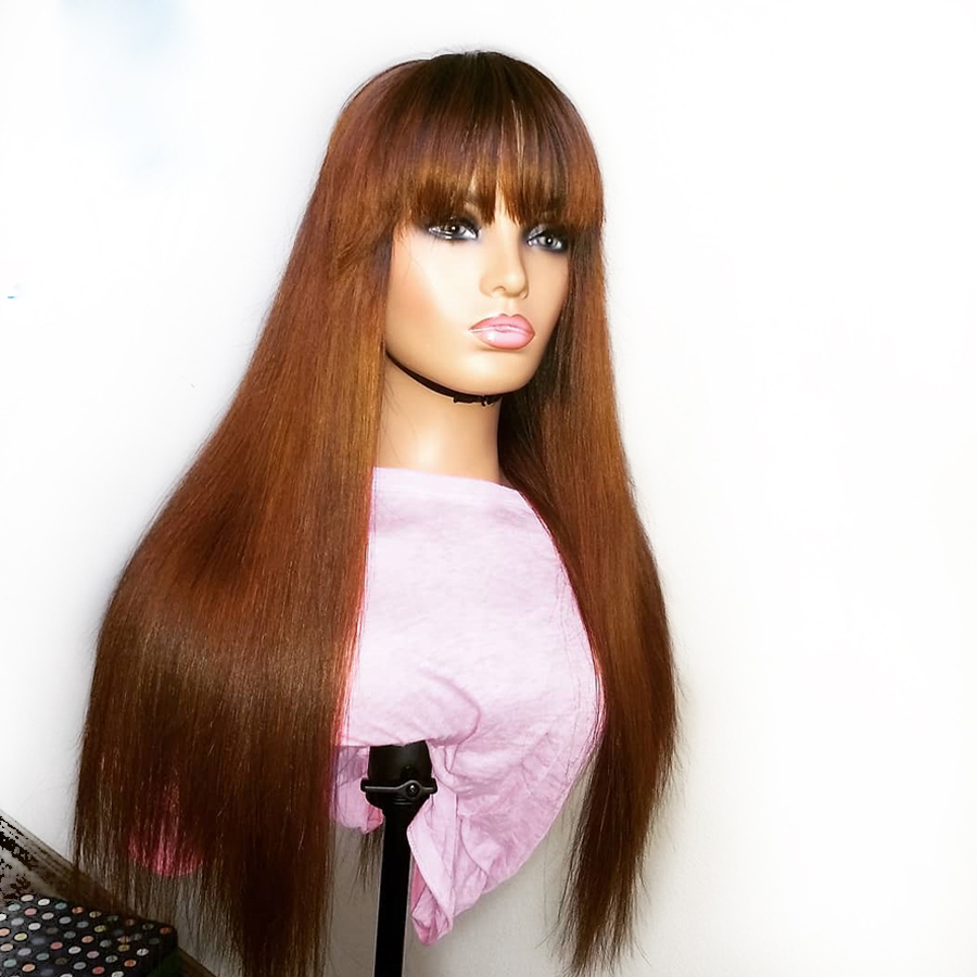 Eversilky Brown Orange Color 360 Lace Front  Human Hair Wigs With Bangs Brazilian Remy  With Baby Hair Straight Fringe Wigs