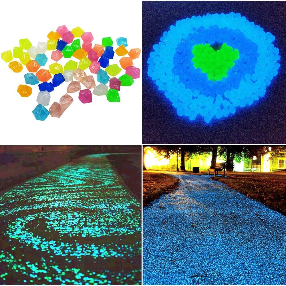 300 pièces décor de jardin pierres lumineuses lueur dans foncé décoratif cailloux extérieur Aquarium décoration galets roches Aquarium mélange couleur