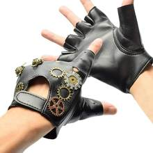 Japanese Harajuku Vintage Steampunk Gear Gloves Punk Lolita Cosplay PU Leather Gloves Gothic Unisex Cosplay Gloves Accessory(China)