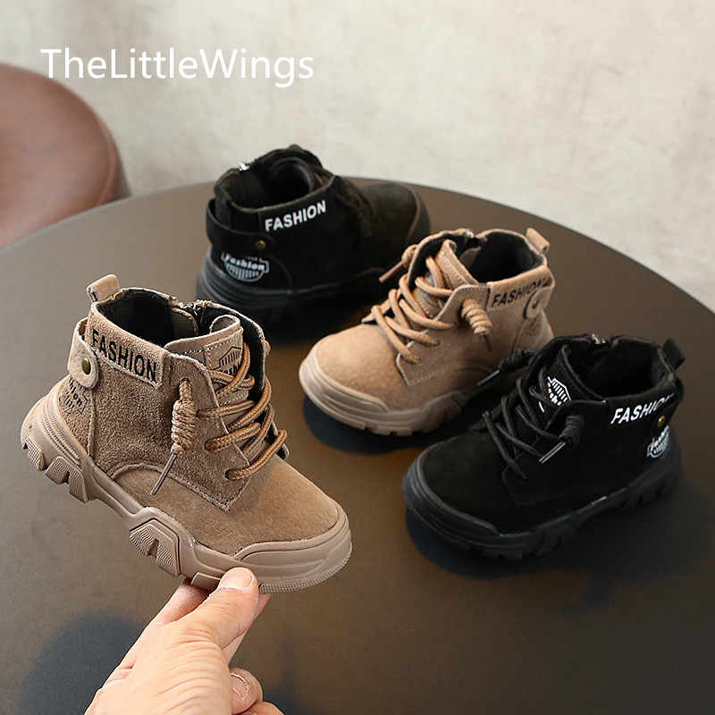 Autumn and winter 0-1-2-3 years old children's sports shoes non-slip girls casual Keep warm boys cotton shoes genuine leather