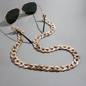Flatfoosie New Leopard Acrylic Sunglasses Chain Women Reading Glasses Hanging Neck Chain Largand Glasses Chain Eyeglasses Strap
