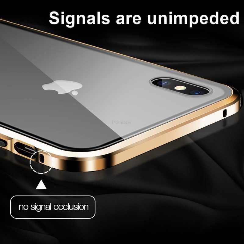 المغناطيسي الزجاج المقسى الخصوصية المعادن حقيبة لهاتف أي فون 11Pro XR XS 11 برو ماكس X 8 7 6 6S زائد 360 المغناطيس مكافحة التجسس الغطاء الواقي
