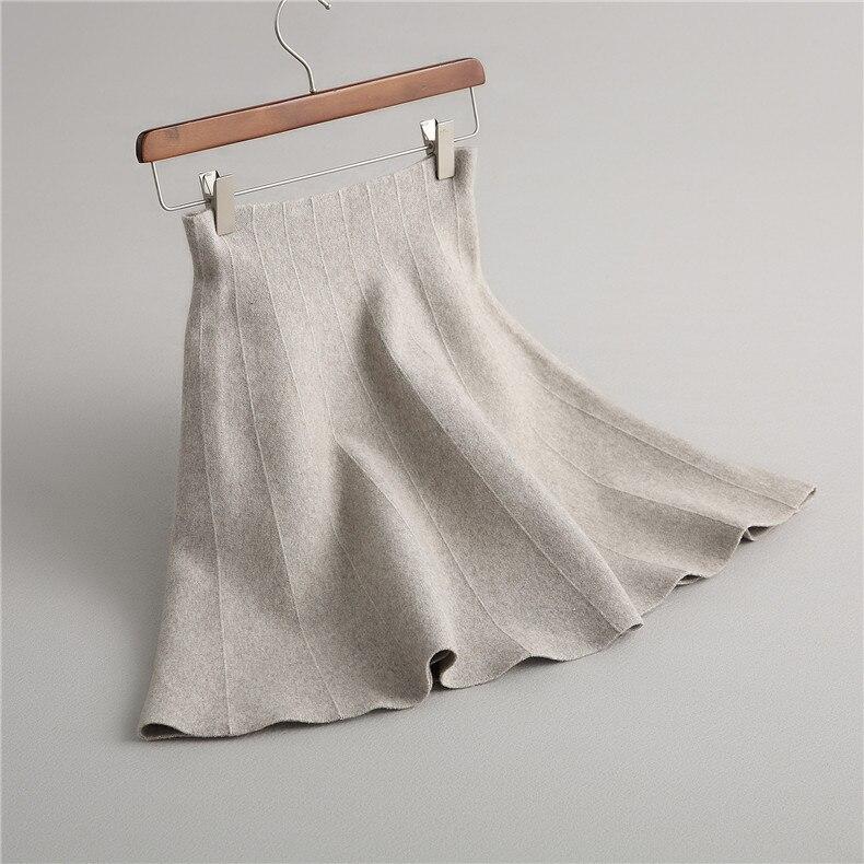 2019 Autumn High Waist Women Mini Skirts Knitted Women Gray Skirt Stretch A-Line Women Fashion Skirt Faldas Saias Jupe Clothes