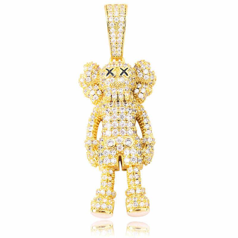アイス漫画人形ペンダント & ネックレスキュービックジルコニアネックレスファッションヒップホップジュエリーメンズギフト