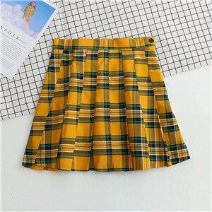 Bazaleas Punk harajuku kratę żółty spódnice damskie kobiet