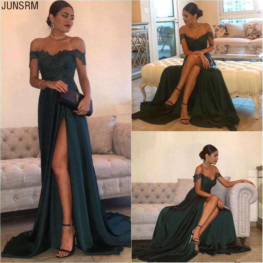 2019 Sexy A Line   Prom     Dresses   Long A Line Off The Shoulder Sweep Train High Side Split Lace Elegant Evening   Dress   Formal   Dress