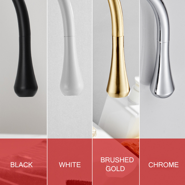 Modern Brushed Gold Basin Faucets Single Handle 360 Rotation Mixer Tap Washbasin Water Crane For Bathroom Vessel Sink Faucets 4
