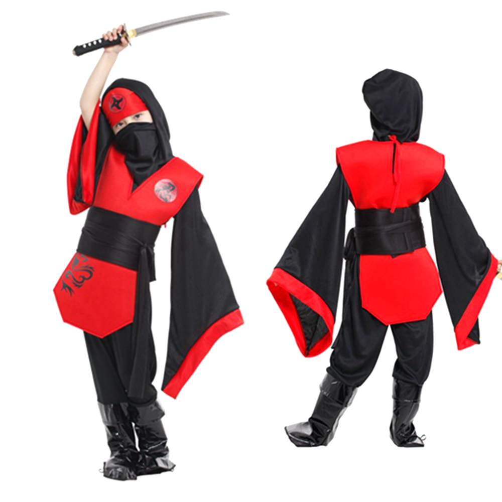Mens Male Adult Red Samurai Ninja Fancy Dress Costume Warrior Outfit Adult