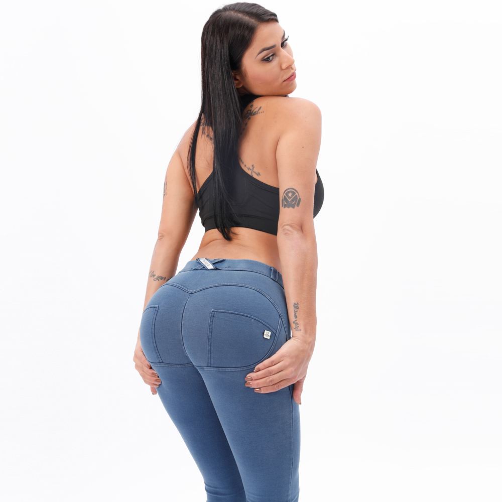 Melody Light Blue Mid Waist Denim Jeggings Women Snug Stretch Skinny Jeans For Women Super Comfortable Push Up Jeans