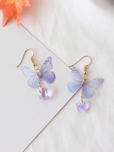 Fashion Personality Lovely Purpou Butterfly Stud Earrings Cute Enamel Beautiful Earrings