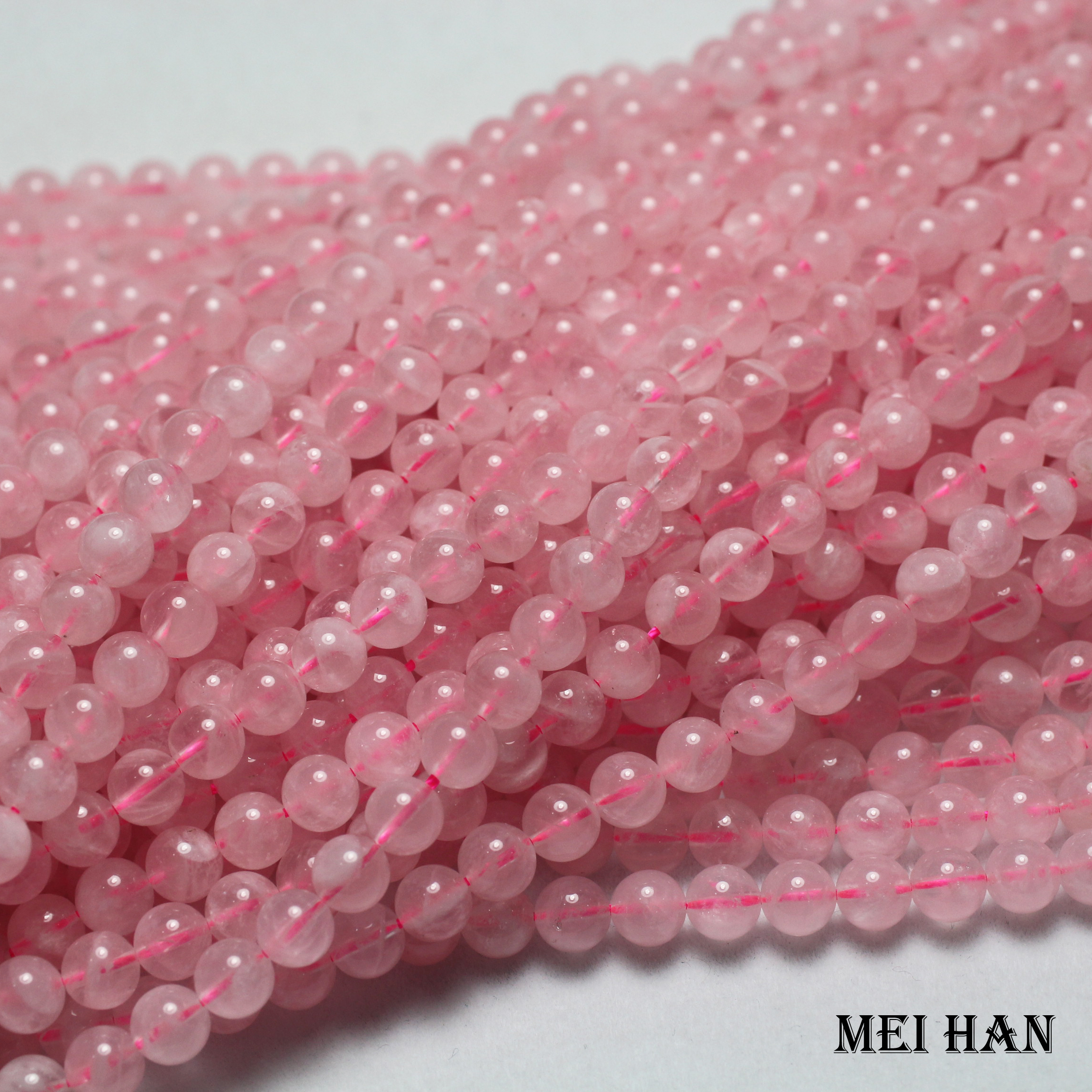 "Pretty 4 Mm Quartz Rose gemme rose Faceted Round Loose Beads 15/"""